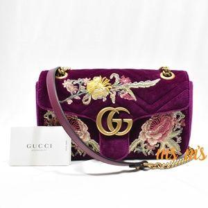 NWT Gucci GG Marmont Velvet Floral Shoulder Bag